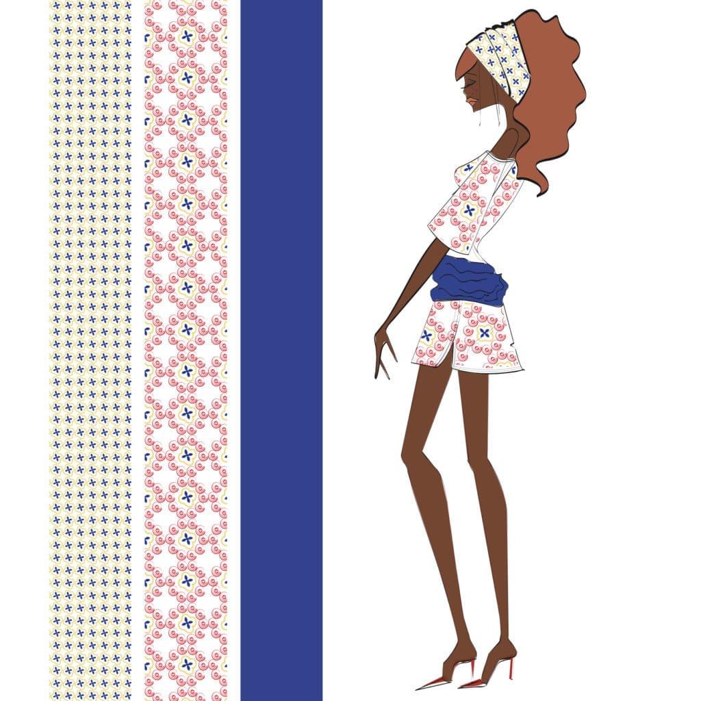 illustration depicting a black woman wearing pink jumpers, Sabina's design