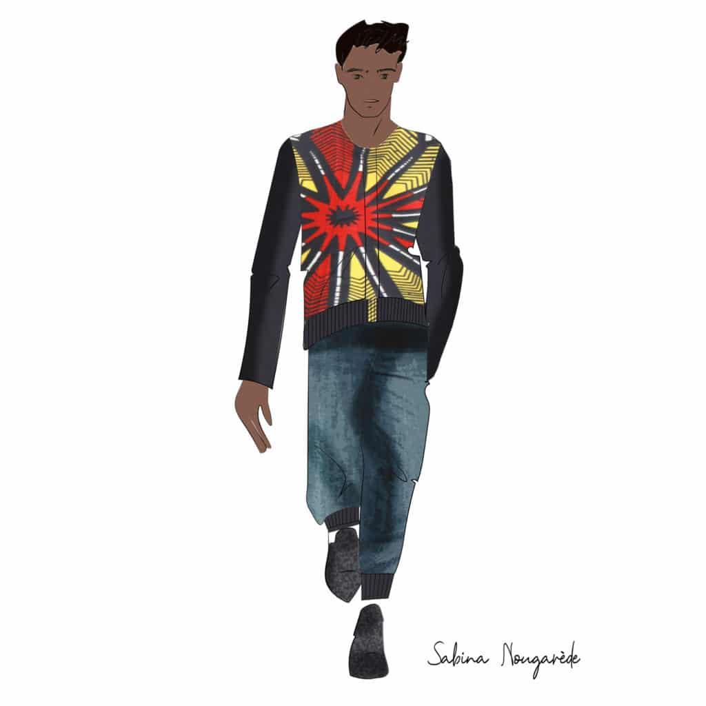 illustration of a tan-skinned man wearing Sabina's sweater design