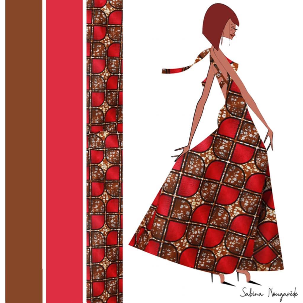 illustration depicting a brunette wearing a red dress, Sabina's design