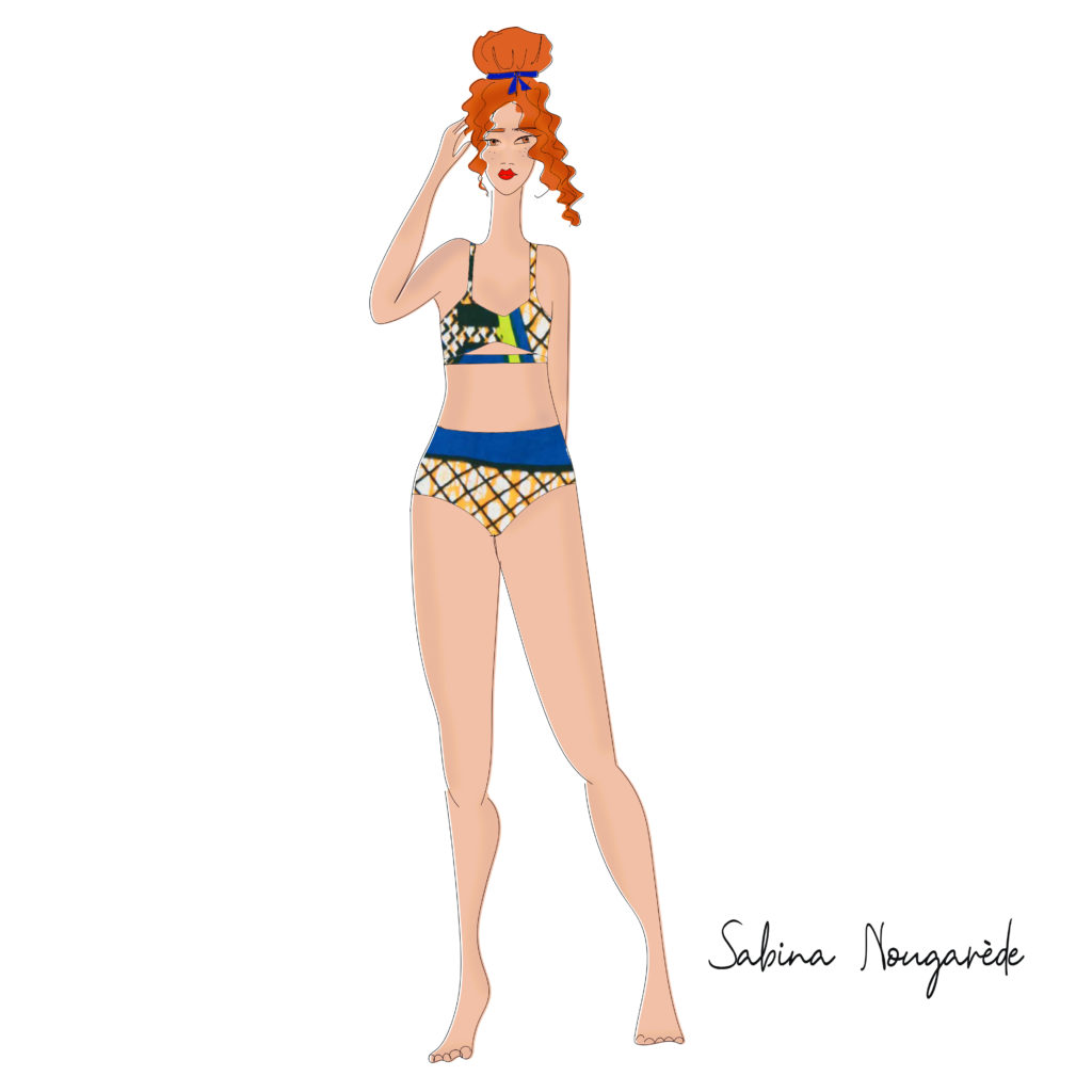 illustration of a triangle body type woman with red hair