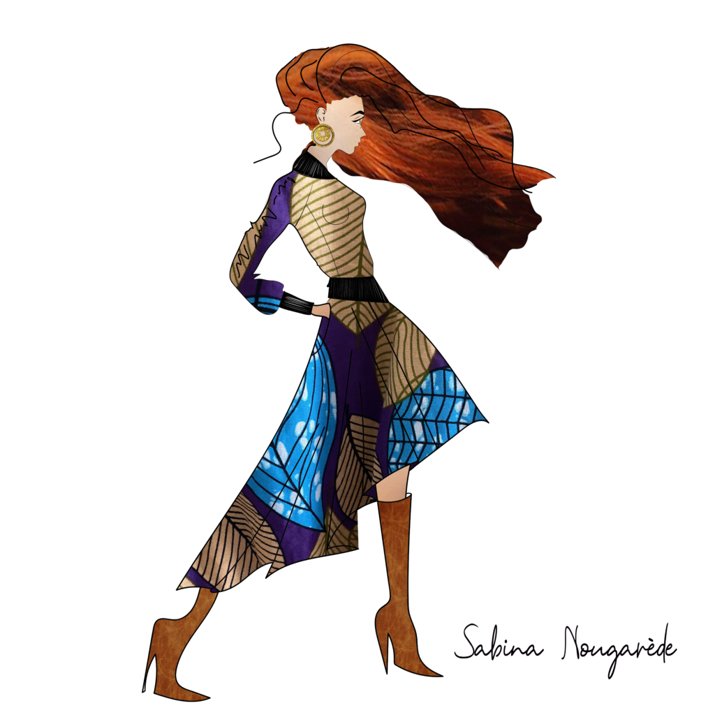 illustration of a red-haired white woman wearing Sabina's design