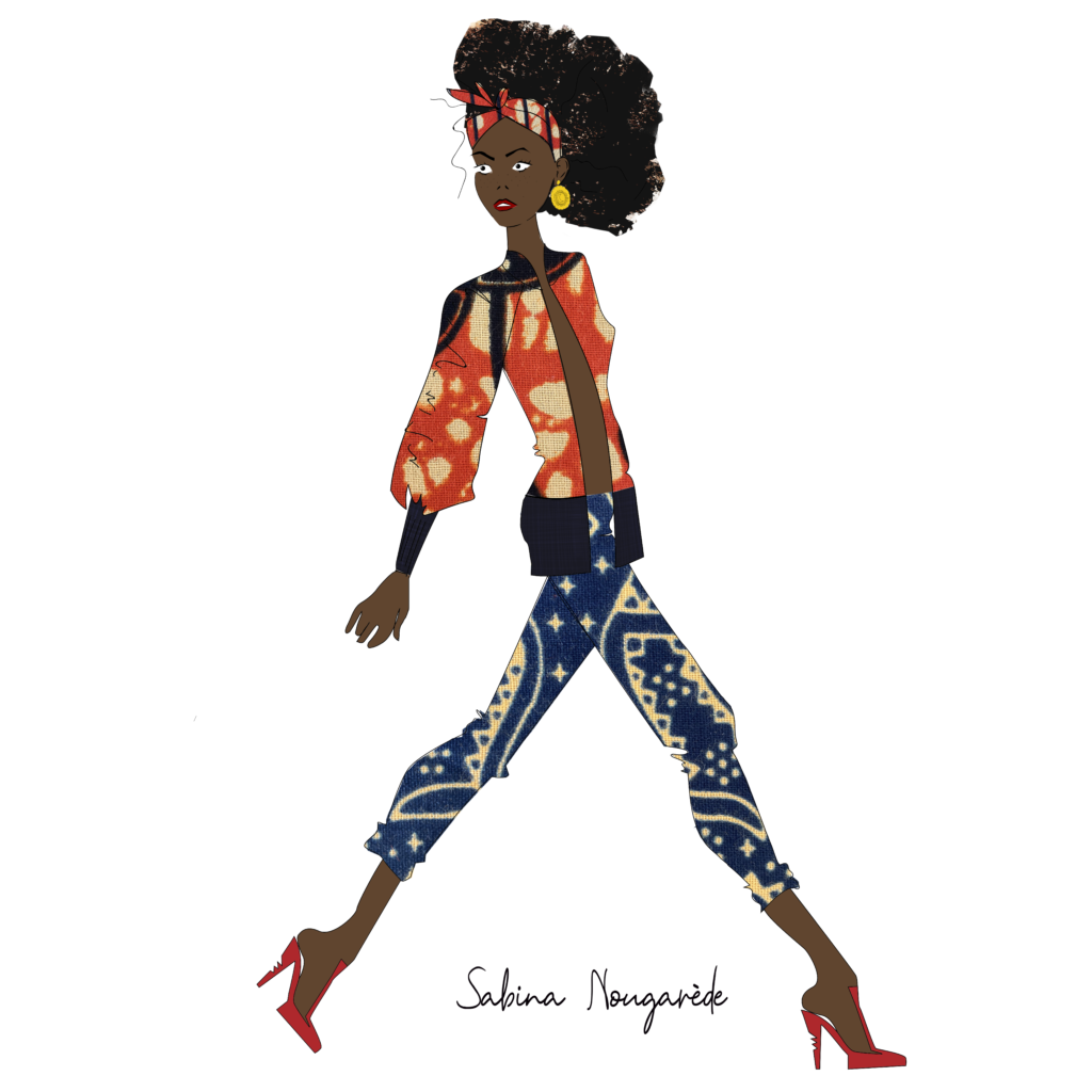 illustration depicting a black woman wearing Sabina's design